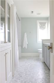 nice penny floor tiles with softer grey wall color for cool bathroom plan