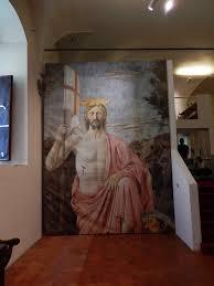 Sansepolcro (Ar) - Museo Civico - La Resurrezione di Piero della Francesca  - Pannello riproducente il Cristo Risorto (23/08/2015)