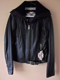 genuine harley davidson leather jacket embroidery womens small maven black