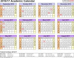 academic calendars as printable word templates template 4 academic calendar 2016 17 for word landscape orientation year at