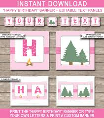 Happy Birthday Signs To Print Camping Party Banner Template Pink