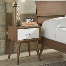 Sylvia Mid-Century White and Walnut 1-Drawer Nightstand by iNSPIRE Q Modern  - Free Shipping Today - Overstock.com - 24174750