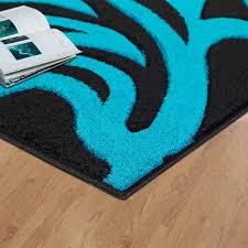 modern area black teal rug for living room