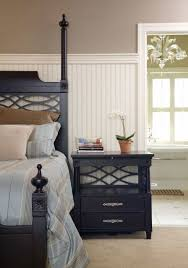 beadboard bedroom furniture. Cozy Bedroom With White Beadboard Wainscoting And Black Furniture 1