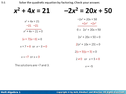 9 6 solve the quadratic equation by factoring check your answer x2 4x