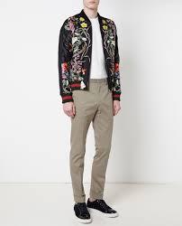 lyst gucci fl print embroidered silk er jacket in black