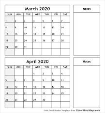March And April 2020 Calendar Calendar Template Information