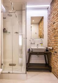 Small Bathroom Shower With Brick Wall Decor