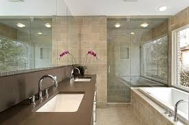 modern master bathroom design. Master Modern Bathroom Design With Built In Bathtub And Double Sink Vanity Under Large Mirror Recessed Lights E
