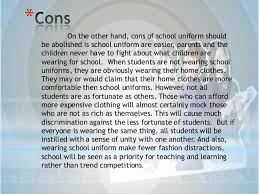 school uniforms should be abolished 4 on the other hand cons of school uniform