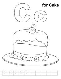 Small Picture Yummy Cake With Letter C Coloring Page Free Printable Coloring