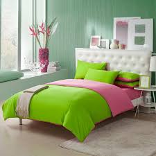 pink and green queen comforter sets lime solid pure color simply shabby chic girls 6