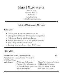 Building Maintenance Technician Resume Mechanic Template Unique