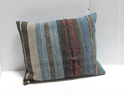 country group of three 19th american rag rug pillows for