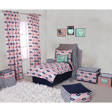 bacati emma aztec c mint navy 4 piece toddler bedding set 100 cotton percale fabrics com
