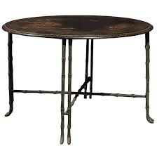 round chinoiserie and bronze cocktail or coffee table