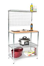 deluxe chrome bakers rack with top shelf hanging grid butcher block