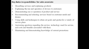Sales Associate Job Description For Resumes Basic Consequently