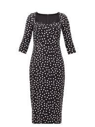 Boned Bodice Polka Dot Print Crepe Midi Dress Dolce