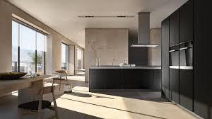 Moderne Küche lackiertes Holz Holzfurnier Kochinsel PURE