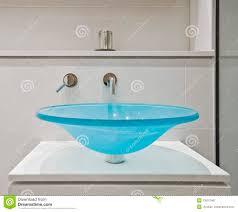 Designer Taps For Wash Basin Glass Bathroom Sink Stock Photo Image Of Blue Holder