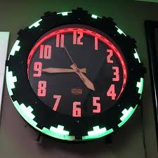 wall clock art deco imposing design neon wall clock art two color at doodle deco wall