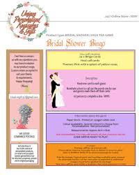 Kitchen Tea Game Bridal Shower Kitchen Tea Game Bingo 24 Cards With Host Call