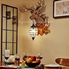 deer head wall lamps crystal pendant lights rustic lighting decor faux wood resin reindeer taxidermy