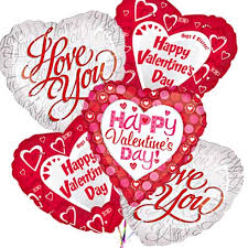 valentines day ballon bouquet with i love you mylar balloons delivery