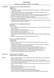 Data Management Resume Sample Data Management Specialist Resume Samples Velvet Jobs