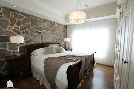 Master Bedroom With Stone Wall Feature Contemporary Bedroom