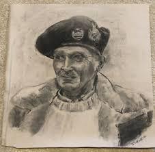ORIGINAL Charcoal Drawing Signed Grace Scherer Portrait Man Beret ...