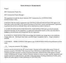 Subcontractor Agreement Format Sample Subcontractor Agreement 14 Documents In Pdf Word
