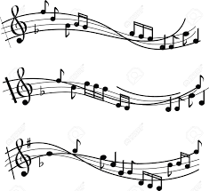 musical sheet illustrated musical notes on sheet music design royalty free