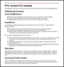 Kyc Analyst Cv Sample Myperfectcv