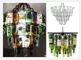 How to make amazing chandelier lighting fixture with beer or wine bottles  step by step DIY