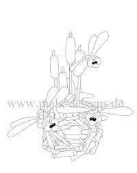 Kleurplaat Libellen Met Lisdodden