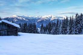 South tirol <b>snow mountains landscape and</b> wooden cabin winter travel