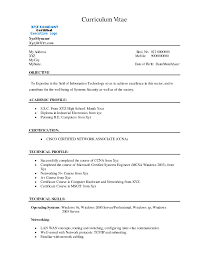 Resume Format For Bca Freshers It Resume Cover Letter Sample