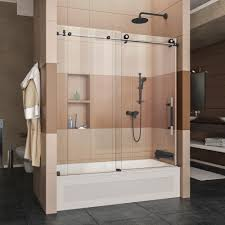 glass bathtub doors dreamline enigma xt 56 59 in w x 62 h frameless sliding tub