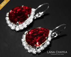 red crystal halo earrings swarovski siam red rhinestone leverback earrings wedding dark red sparkly earrings bridal jewelry red earrings