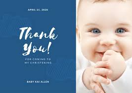 Baby Thankyou Customize 50 Christening Thank You Card Templates Online Canva