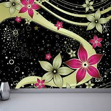Black gold and pink flowers wallpaper mural style 2 bedroom design wm186