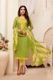 Light Green Combination Here Is An Evergreen Combination With This Dress Material In