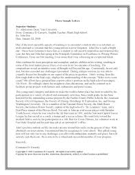 College Admission Recommendation Letter   Sample Letter of