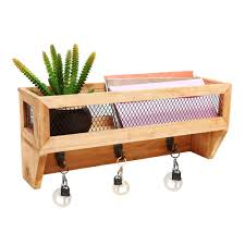 wall mounted mail organizer letter holder wire wood mesh