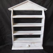 white distressed shelf with draw miniature display shelf