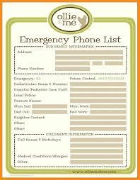Emergency List 023 Emergency Phone Numbers Template Ideas List Important