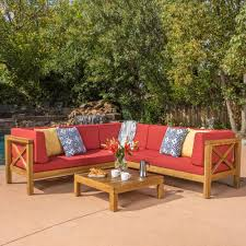wood outdoor sectional. Interesting Sectional Noble House Brava Teak Finish 4Piece Wood Outdoor Sectional Set With Red  Cushions And N