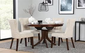 gallery hudson round dark wood extending dining table and 4 chairs set bewley oatmeal
